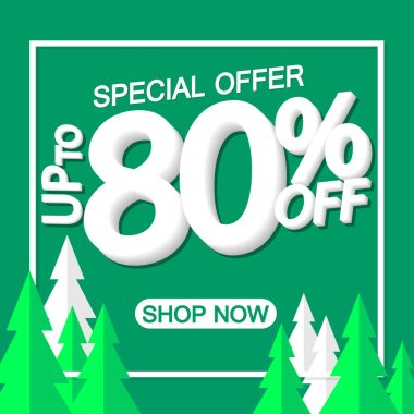 Christmas Sale 80% off, poster design template, special offer, vector illustration