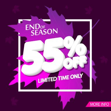 Autumn Sale 55% off, poster design template, end of season, vector illustration