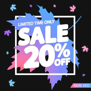 Autumn Sale 20% off, poster design template, vector illustration