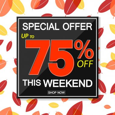 Autumn Sale up to 75% off, poster design template, special offer, vector illustration