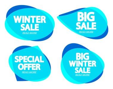 Set Sale bubble banners design template, Winter discount tag, app icon, vector illustration