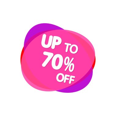 Sale 70% off, bubble banner design template, discount tag, app icon, vector illustration
