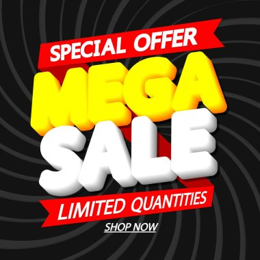 Mega Sale, discount poster design template, special offer, red ribbon, vector illustration