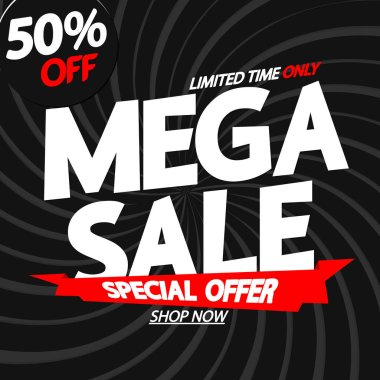 Mega Sale 50% off, poster design template, special offer, red ribbon, vector illustration
