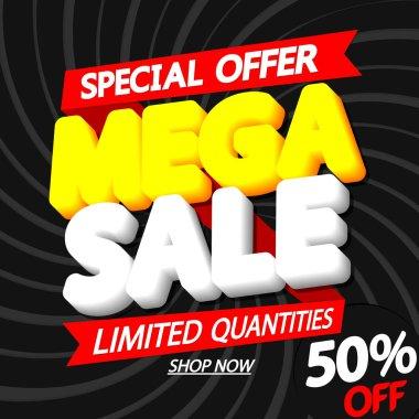 Mega Sale 50% off, poster design template, special offer, red ribbon, vector illustration