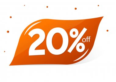 Sale 20% off, discount banner design template, extra promo tag, vector illustration