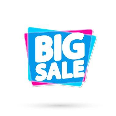 Big Crazy Sale tag, bubble banner design template, app icon, vector illustration