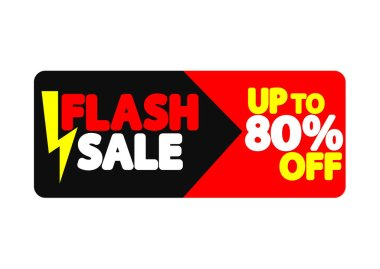 Flash Sale, banner design template, discount tag, up to 80% off, app icon, vector illustration