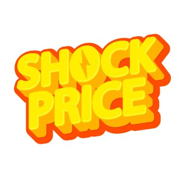 Shock Price, sale poster design template, isolated sticker, vector illustration