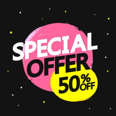 Special Offer, big sale banner design template, 50% off, discount tag, app icon, vector illustration