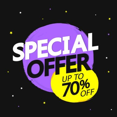Special Offer, big sale banner design template, up to 70% off, discount tag, app icon, vector illustration
