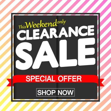 Clearance Sale, discount poster design template, special offer, red ribbon, vector illustration