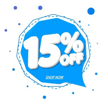 Sale 15% off tag, speech bubble banner design template, discount tag, app icon, vector illustration