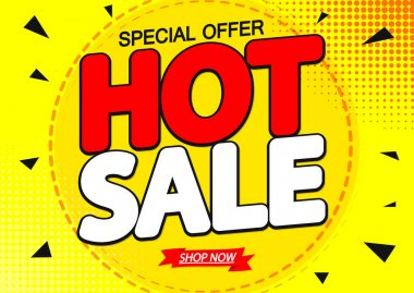 Hot Sale, discount poster design template, special offer, vector illustration
