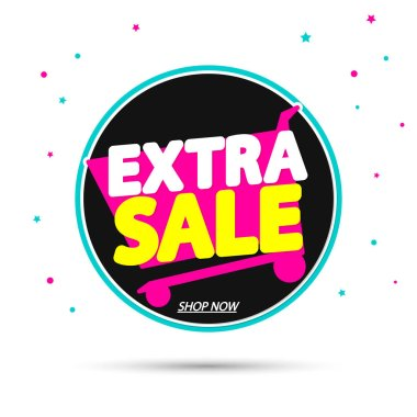 Extra Sale, promotion banner design template, discount tag, vector illustration