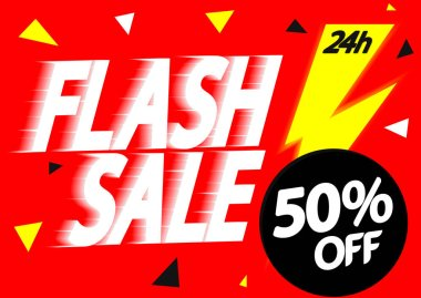 Flash Sale up to 50% off, poster design template, offer 24 hour only, vector illustration