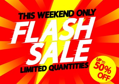 Flash Sale up to 50% off, poster design template, super offer, vector illustration
