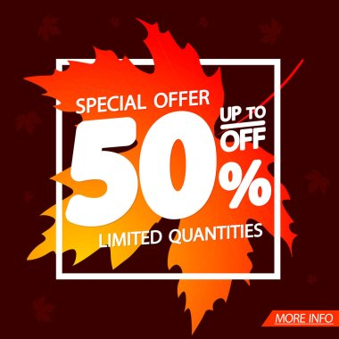 Autumn Sale 50% off, poster design template, special offer, vector illustration