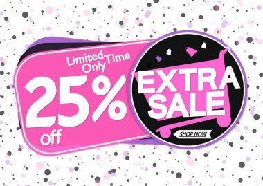 Extra Sale 25% off, tags design template, discount banners, vector illustration