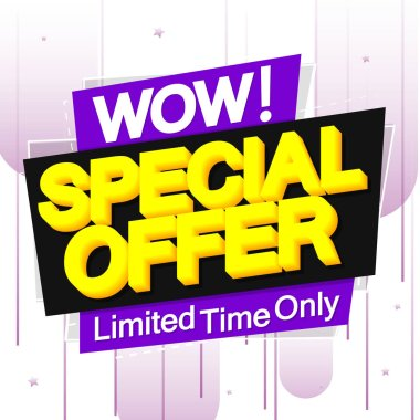 Special Offer, sale banner design template, wow discount tag, app icon, vector illustration