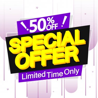 Special Offer 50% off, big sale banner design template, discount tag, app icon, vector illustration