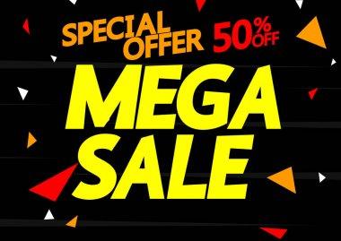 Mega Sale up to 50% off, poster design template, special offer, vector illustration