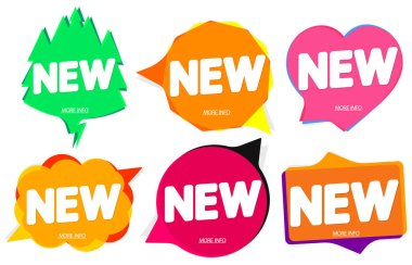 Set New banners design template, speech bubble promo tags, vector illustration