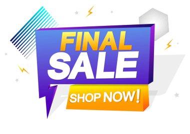 Final Sale, tag design template, flash discount speech bubble banner, app icon, vector illustration