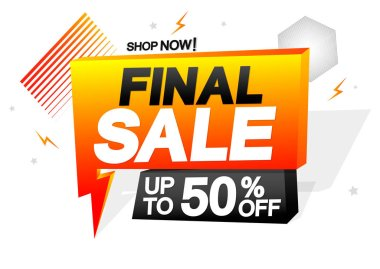 Final Sale 50% off, speech bubble banner design template, discount tag, flash offer, vector illustration