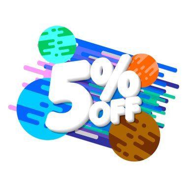 Sale 5% off, discount banner design template, space promo tag, extra offer, vector illustration