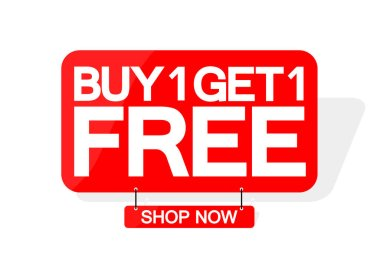 Buy 1 Get 1 Free, sale banner design template, discount tag, great offer, vector illustration