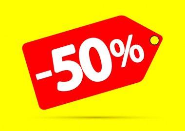 Mega Sale, 50% off, discount banner design template, offer tag, vector illustration