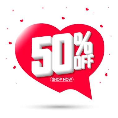 Sale 50% off, speech bubble banner, discount tag design template, app icon, vector illustration