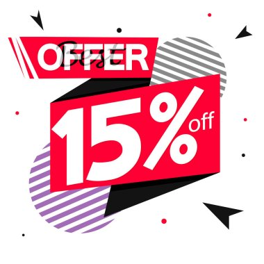 Sale 15% off tag, discount banner design template, best offer, vector illustration
