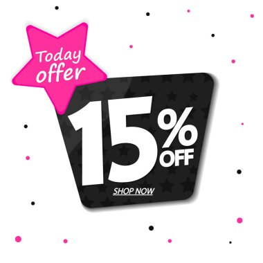 Sale 15% off tag, discount banner design template, today offer, vector illustration