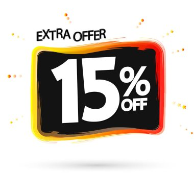Sale 15% off tag, discount banner design template, extra offer, vector illustration