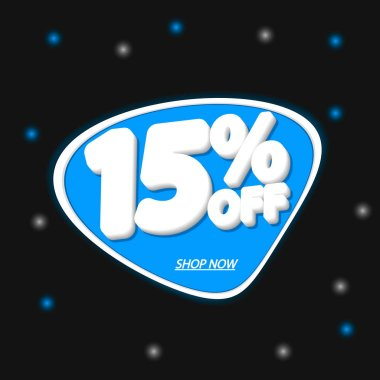 Sale 15% off, discount banner design template, promo tag, extra offer, vector illustration