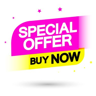 Special Offer, sale tag design template, discount banner, buy now, vector illustration