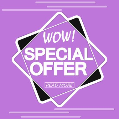 Special Offer, sale tag design template, discount banner,wow promo, vector illustration