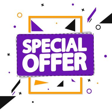 Special Offer, sale tag design template, discount banner, vector illustration