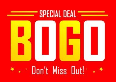 Buy 1 Get 1 Free, Sale poster design template, bogo offer, special deal, dont miss out, vector illustration