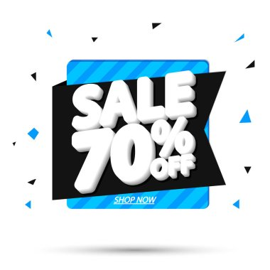 Sale 70% off, banner design template, discount tag, app icon, vector illustration