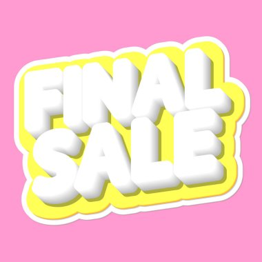 Final Sale, poster design template, isolated sticker, vector illustration