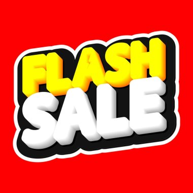 Flash Sale, poster design template, isolated sticker, vector illustration