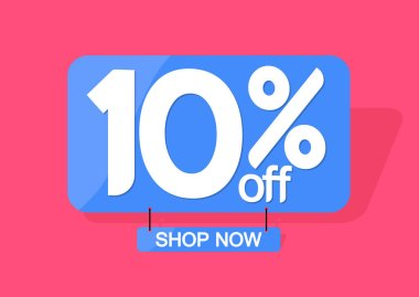 Sale 10% off tag, discount banner design template, vector illustration