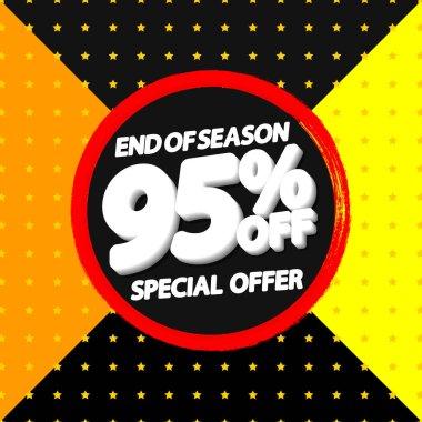 Sale 95 off, banner design template, special offer, discount tag, end of season, grunge brush, vector illustration