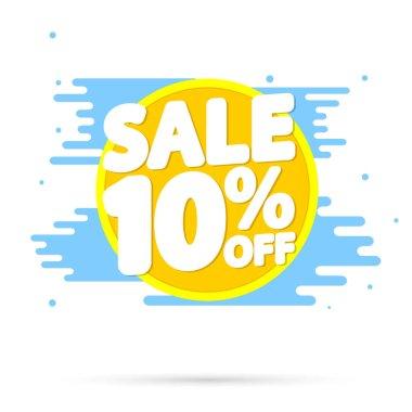 Sale 10% off, discount banner design template, promo tag, vector illustration