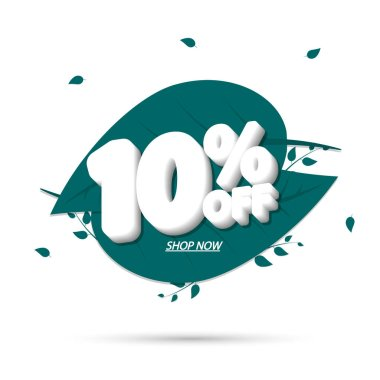 Sale 10% off, discount banner design template, promo tag, vector illustration
