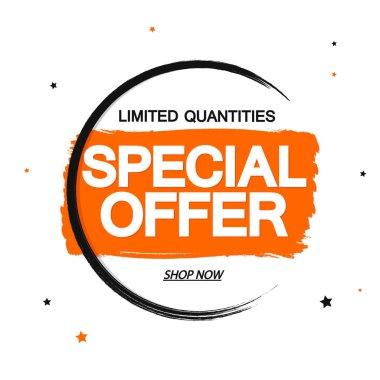 Special Offer, Sale banner design template, discount tag, grunge brush, vector illustration