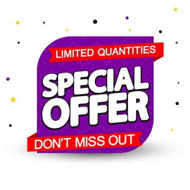 Special Offer, sale banner design template, discount tag, dont miss out, app icon, vector illustration